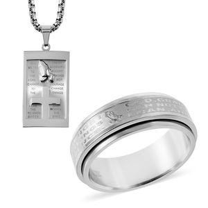 Stainless Steel Prayer Men's Ring Size 12